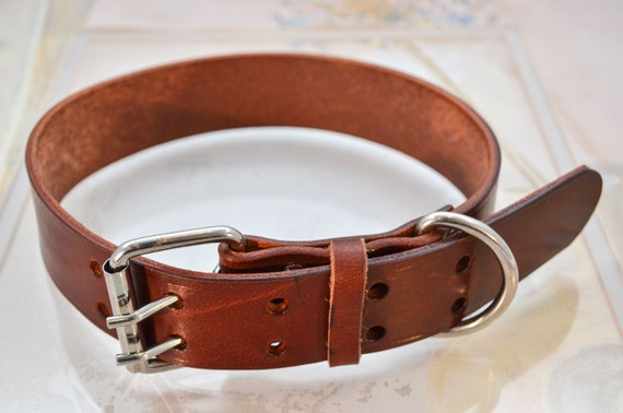 Wide Leather Dog Collar in Chestnut Mahogany Real Genuine Leather For Medium to Giant Breeds Extra Large Width