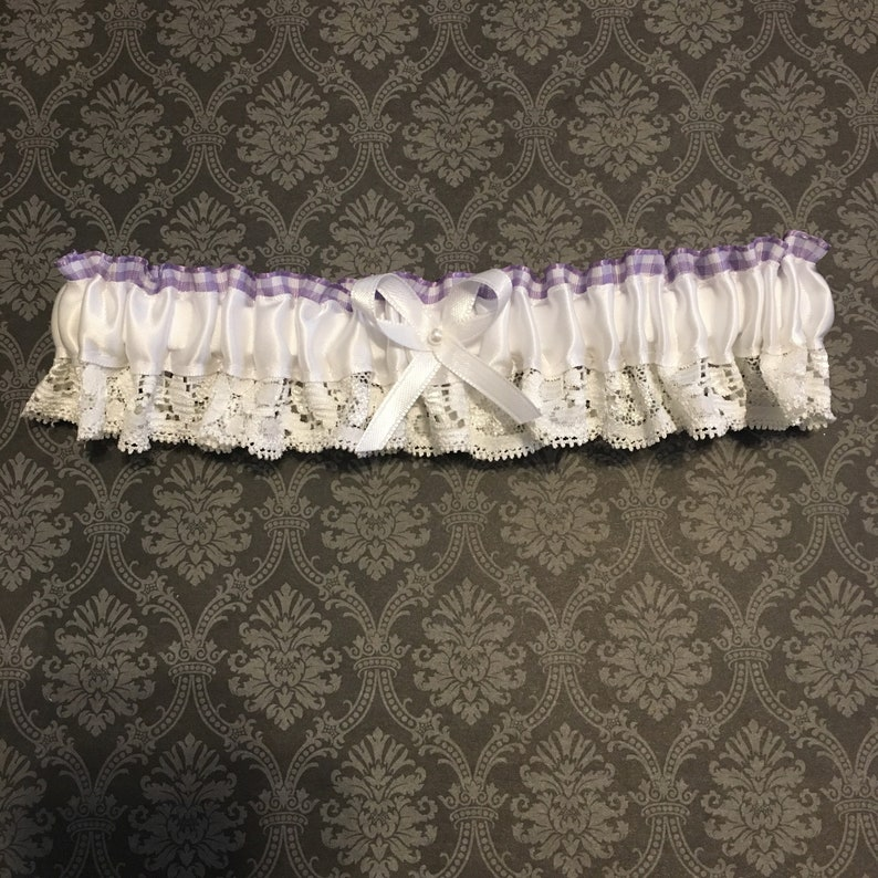 Reversible Satin White  Purple Gingham Garter