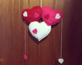 Hearts Baby Mobile /  Wall Decor