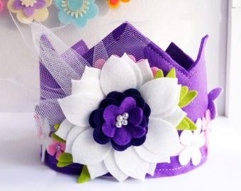 Felt Crown, Birthday Crown, Crown and tiaras, Party Crown, Girls Birthday Crown, Felt crown headband, crown for birthday, princess crown