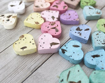 Wildflower Seed Bombs, 50 Pastel Plantable Hearts, Pastel Variety Mix, Handmade Eco-Friendly Favors