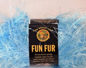 1 Skein of Lion Brand Fun Fur, Light Blue