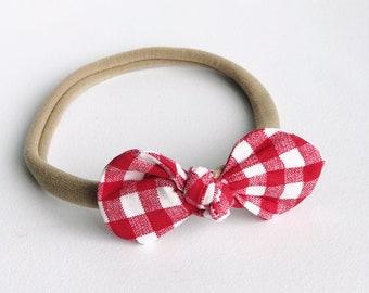 Red Checkered Nylon Headband