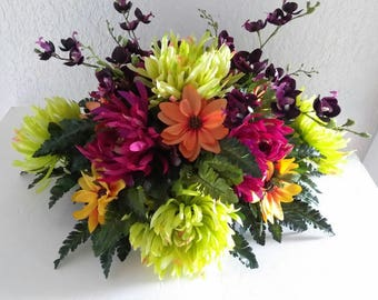 SALE Spider mum and orchid centerpiece