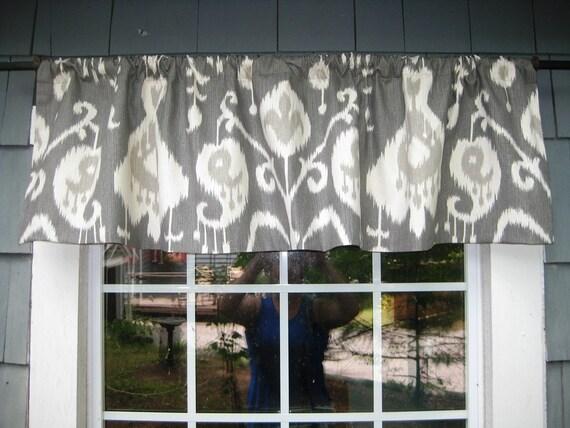 Ikat Gray Contemporary Kitchen Valance Straight-Hem Gathered Rod Pocket Window Treatment in Magnolia Java Fabric Color Pewter Living Room