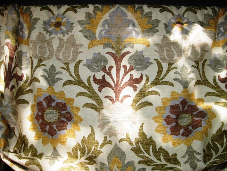 Triangle Rod Pocket Window Treatment in Waverly Santa Maria color Pebble with Dark Yellow Lining /& Button Flat Easy Valance Layered