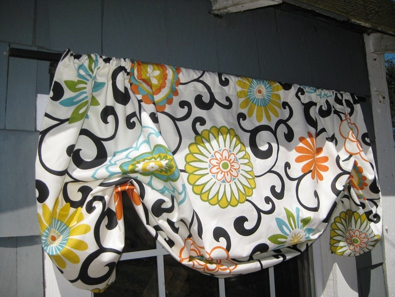 Valance Gathered Mock Roman Rod Pocket Window Treatment in Waverly Pom Pom Play color Confetti Fabric Kitchen Modern Traditional Floral