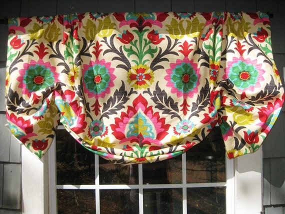 Sage Gathered Straight-Hem Rod Pocket Window Treatment in Plum Square Embroidered Faux Silk Fabric Curtain Valance Ready to Ship