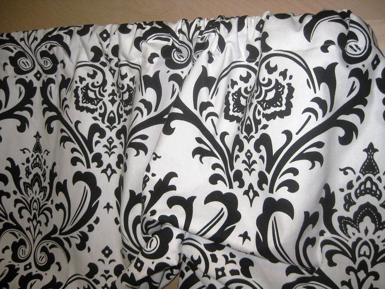 Valance Ready to Ship Gathered Rod Pocket MockFaux Roman Window Treatment in Traditions White Black Damask Fabric Living Bedroom Office