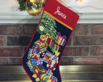 PRE-ORDER Toys Christmas stocking, Personalized Needlepoint stockings, Family Heirloom Holiday, personalised embroidered stocking