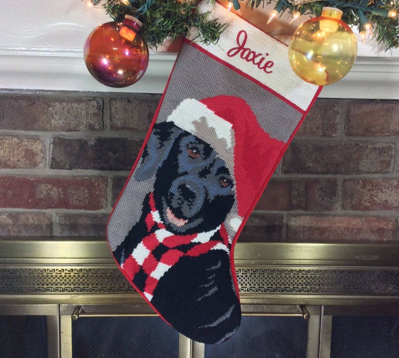 47f1a467a Black Lab w/Santa Hat Stocking, Personalized Needlepoint Christmas  Stocking, embroidered Holiday Dog stockings, personalised Dog stocking