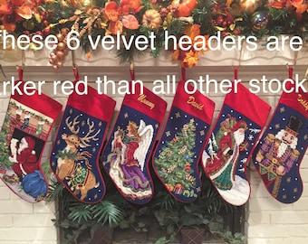 "PRE-ORDER Personalized Needlepoint Christmas Stockings, Family Heirloom Holiday 18"" Stocking Personalised Reindeer Angel Santa Tree"
