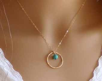 Simple Gold Necklace, Gold Circle Necklace, Dainty Gold Necklace, Delicate Necklace, Layering Necklace