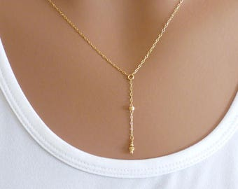 Y Necklace, Gold filled, Dainty Necklace, Lariat Necklace, Gift for her, Minimalist Necklace, Dainty Gold Necklace, KRcollection