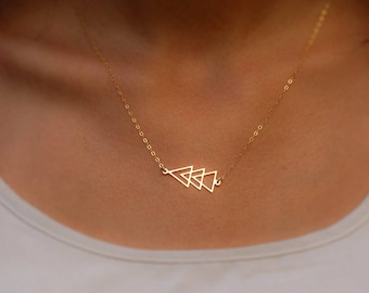 Geometric Triangle Necklace, Gold filled, Dainty Necklace, Gift ideas for her, Triangle Necklace, Gold Triangle Necklace, Gold Necklace