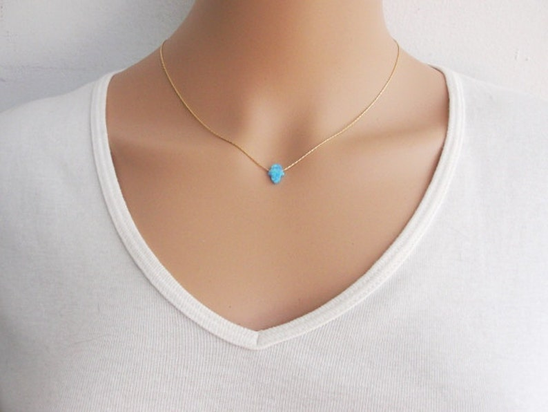 Hand necklace Gold Hamsa necklace Gold necklace hamsa necklace Delicate necklace Gold Opal hamsa necklace Protection necklace