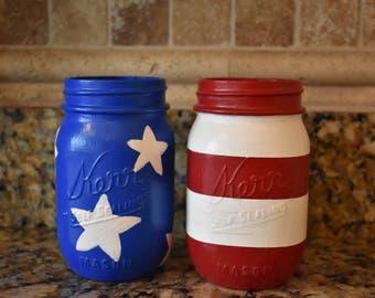 American Flag Mason Jars, USA, 4th of July Decor, Stars & Stripes
