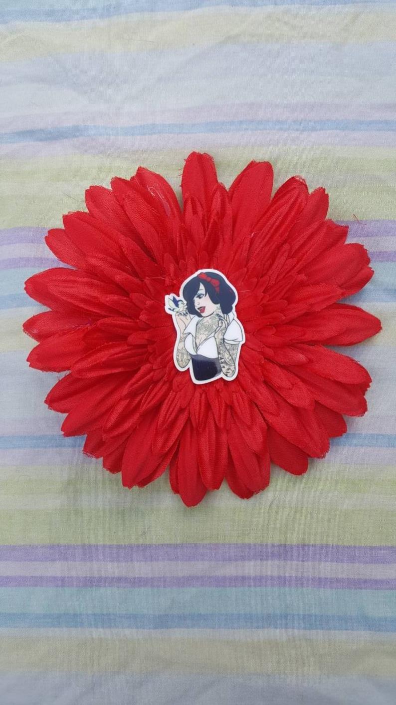 Tattooed Snow White Hair Flower