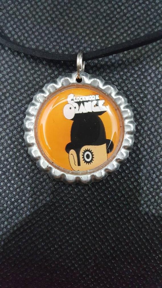 A Clockwork Orange Bottle Cap Necklace