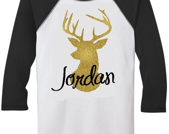 Children's gold deer head silhouette with custom name Raglan Shirt - Christmas shirt - Christmas Gift - Kids raglan shirt - baseball tee