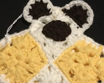 Baby's First Flat Comfort Teddy Bear Pale Yellow /White,Lovey,Bear Lovey,Crochet Flat Bear,LoveyToy,Security Blanket,Crochet Bear Lovey,Bear