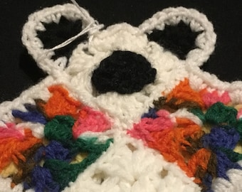 Baby's First Flat Comfort Teddy Bear MultiColor/White/Yellow,Lovey,Bear Lovey,Crochet Flat Bear,LoveyToy,Security Blanket,Crochet Bear Lovey