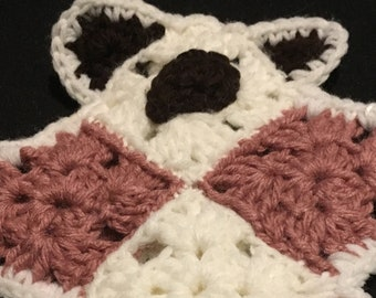 Baby's First Flat Comfort Teddy Bear Dusty Rose and White,Lovey,Bear Lovey,Crochet Flat Bears,Lovey Toys,Security Blanket,Crochet Bear Lovey