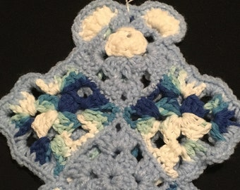 Baby's First Flat Comfort Teddy Bear Multi Blues&Baby Blues,Lovey,Bear Lovey,Crochet Flat Bear,Lovey Toy,Security Blanket,Crochet Bear Lovey