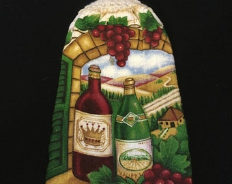 Wine Bottles Double Sided Kitchen Hand Towel Cream 6