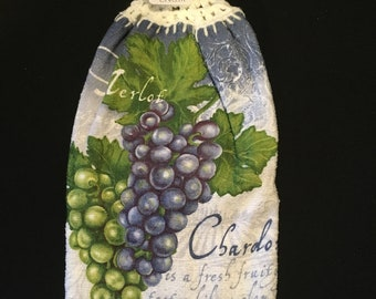 Merlot Grapes Double Sided Kitchen Hand Towel Cream 3
