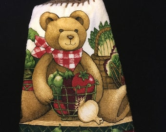 Teddy Bear with Veggies Double Sided Kitchen Hand Towel Brown 4