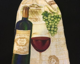 Wine Bottle with Wine Glass Double Sided Kitchen Hand Towel Cream 2