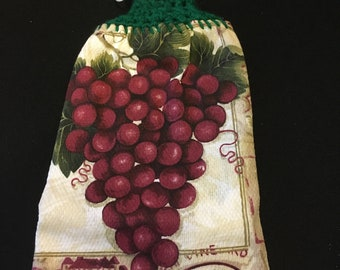 Purple Grapes Double Sided Kitchen Hand Towel Paddy Green 2