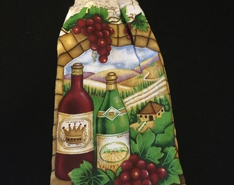 Wine Bottles Doubled Sided Kitchen Hand Towel Cream 3