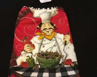 Red Happy Chef Double Sided Kitchen Hand Towel Black 2