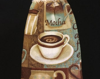 Coffee Cup with Words Double Sided Kitchen Hand Towel Cream 2