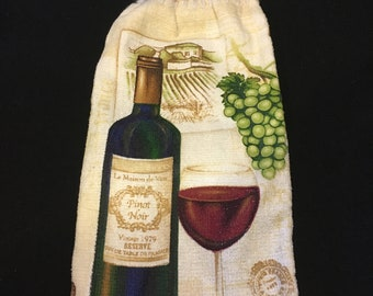Wine Bottle with Wine Glass Double Sided Kitchen Hand Towel Cream 4