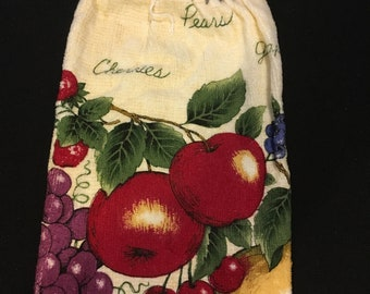 Fruit with Words Single Sided Kitchen Hand Towel Gray 2