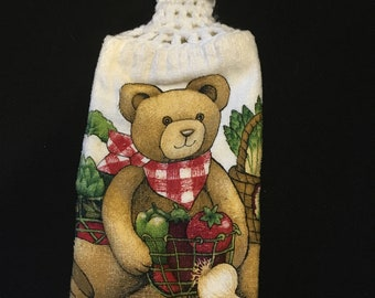 Teddy Bear with Veggies Double Sided Kitchen Hand Towel White 1