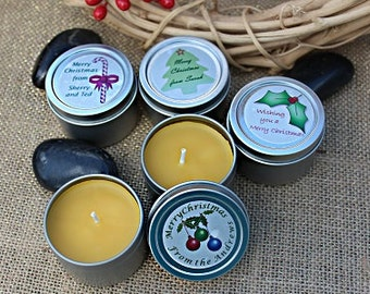 Custom Christmas Candles. Your guests, colleagues and family will love these beeswax candle tins in your choice of scent, with custom label.