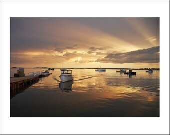 Pott's Point - Sunset at Pott's Point Harbor - Lobster Wharf - Maine - Color Photo Print - Fine Art Photography (PP09)