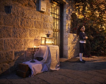 Hanukkah in Jewish Quarter - The Old City of Jerusalem - Color Photo Print - Fine Art Photography (IS34)