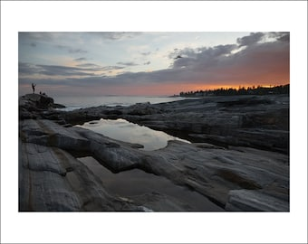 Rocky Shore of Pemaquid Point at Sunset - Maine - Color Photo Print - Fine Art Photography (PQ03)