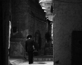 Night in Safed (Tzfat) - Black and White Photo Print - Fine Art Photography (IS14)