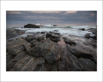 Rocky Shore of Pemaquid Point at Sunset - Maine - Color Photo Print - Fine Art Photography (PQ04)