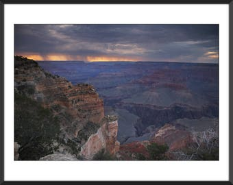Grand Canyon at Sunset - Storm Moved to the West - Color Photo Print - Fine Art Photography (GC03)