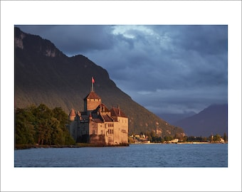 Chillon Castle at Sunset - Switzerland - Color Photo Print - Fine Art Photography (SW12)