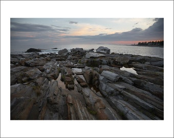 Rocky Shore of Pemaquid Point at Sunset - Maine - Color Photo Print - Fine Art Photography (PQ02)