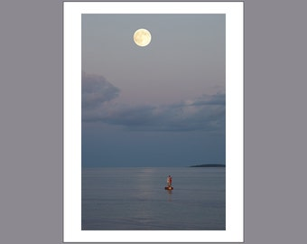 Full Moon Over Bass Harbor - Maine - Color Photo Print - Fine Art Photography (LM15)