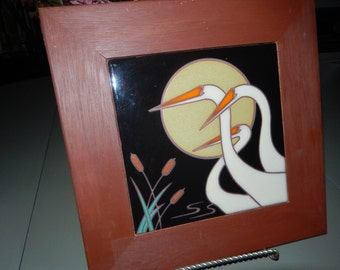 Three Egrets Hand Painted Wall Hanging